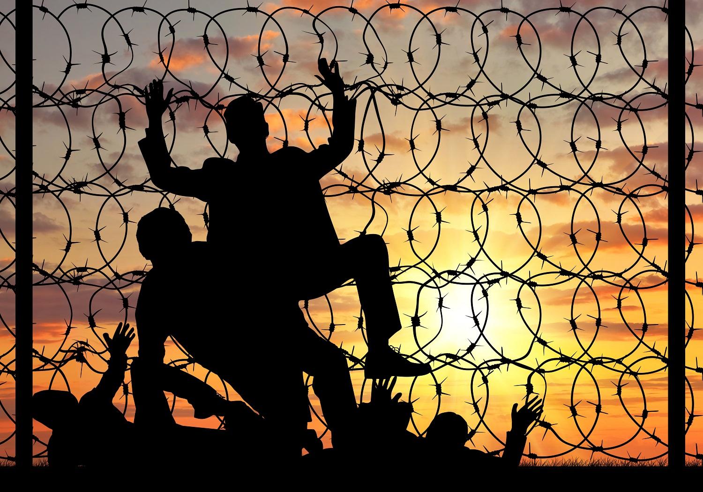 Fluechtlinge versuchen, eine Grenze aus Stacheldraht zu überwinden.