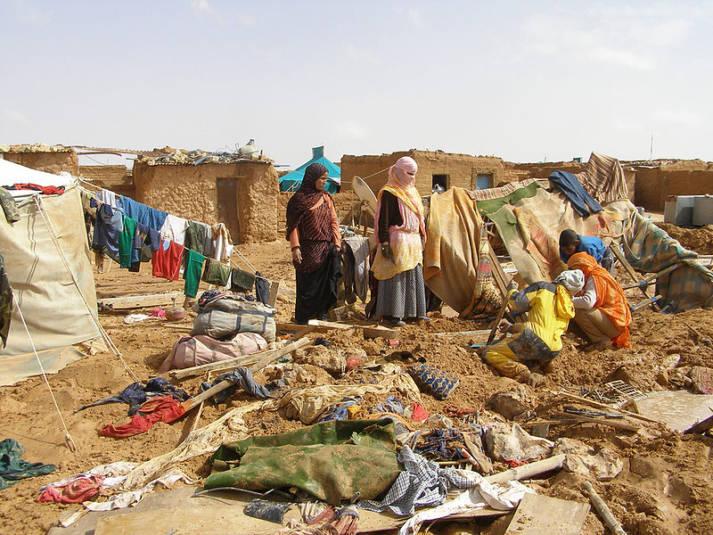 Ein Flüchtlingscamp für Sahrauis in Algerien. Ein Flüchtlingscamp für Sahrauis in Algerien.    Bild: © Western Sahara - Wikimedia Commons
