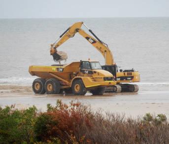 Sandbagger am Strand
