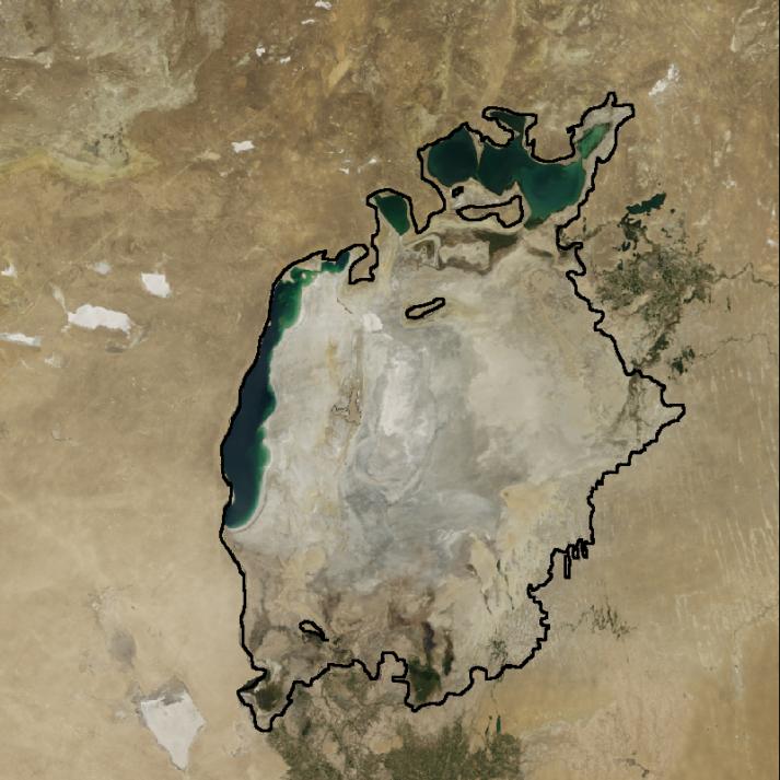 Aralsee 2014 Aralsee im Jahr 2014. Die schwarze Linie zeigt die Ausmaße des Sees im Jahr 1960. (Linie bearbeitet, Bild zugeschnitten)  |  Bild: © NASA Goddard Space Flight Center [CC BY 2.0]  - flickr