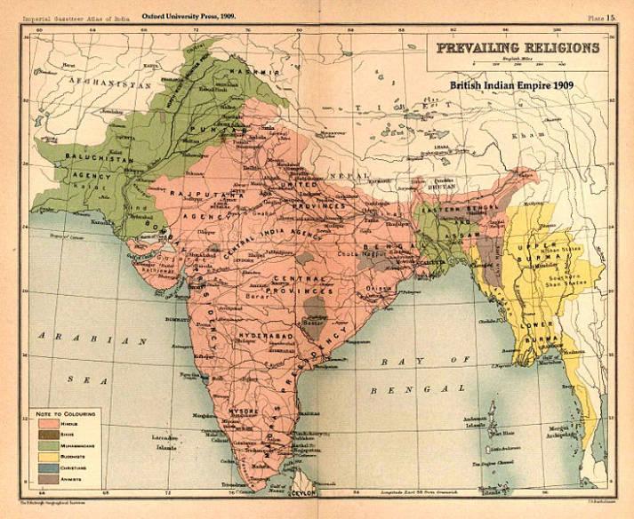 Britisch-Indisches Kolonialreich Im 19. Jahrhundert führten die Briten einen siegreichen Krieg gegen Birma und schlugen es ihrem indischen Kolonialgebiet zu. Sowohl die Rohingya als auch die Birmesen fielen unter ihre Kolonialherrschaft. |  Bild: © John George Bartholomew [CC0 1.0]  - Wikimedia Commons