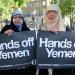 Jemenitische Aktivistinnen Zwei jemenitische Aktivistinnen in Whitehall gegenüber von Downing Street 10 | Bild (Ausschnitt): © Alisdare Hickson [CC BY-SA 2.0] - Flickr