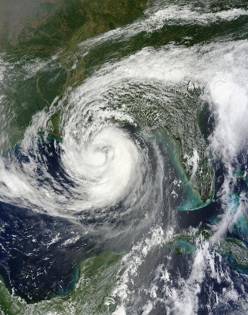 Hurrikan Isaak über dem Golf von Mexiko.