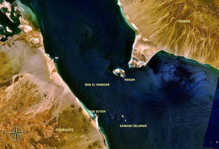 Bab al-Mandab Meerenge Bab al-Mandab Meerenge |  Bild: © WorldWind software [Public Domain]  - Wikipedia
