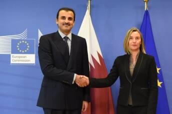 Emir Al Thani trifft die EU-Außenbeauftragte Federica Mogherini: Kann sich die EU als Vermittler in der Krise positionieren?