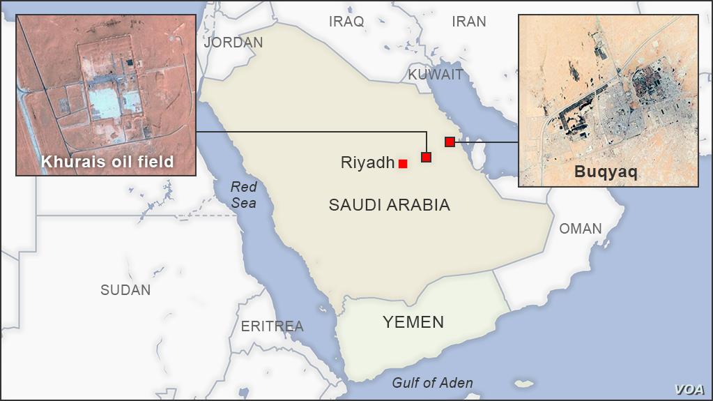Churais Ölfeld und Abkaik Raffinerie in Saudi-Arabien