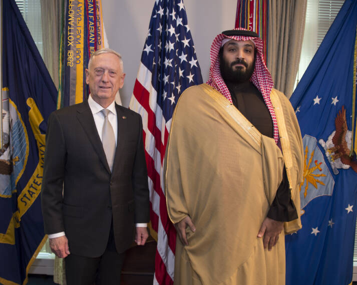 Defense Secretary James N. Mattis meets with Saudi Arabia's First Deputy Prime Minister and Minister of Defense, Crown Prince Mohammed bin Salman bin Abdulaziz |  Bild: © U.S. Secretary of Defense [CC BY 2.0]  - flickr